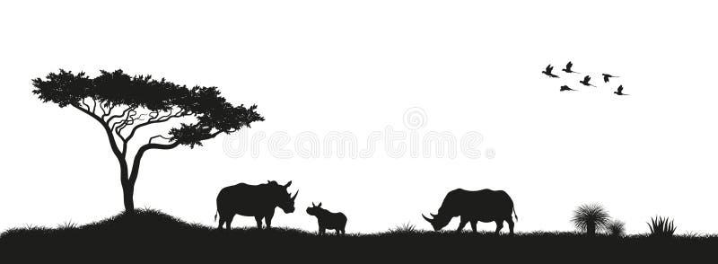 Silueta negra de rinocerontes y de árboles en sabana Animales de África Paisaje africano Panorama de la naturaleza salvaje stock de ilustración