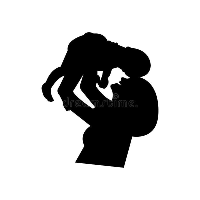 Silueta negra de un bebé de la tenencia de la madre ilustración del vector