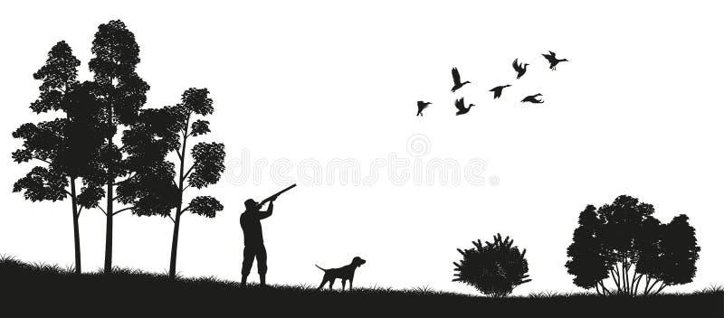 Silueta negra de un cazador con un perro en la caza del pato del bosque Paisaje de la naturaleza salvaje ilustración del vector
