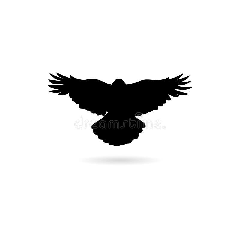 Silueta negra de un cuervo que vuela aislado en el icono o el logotipo blanco stock de ilustración