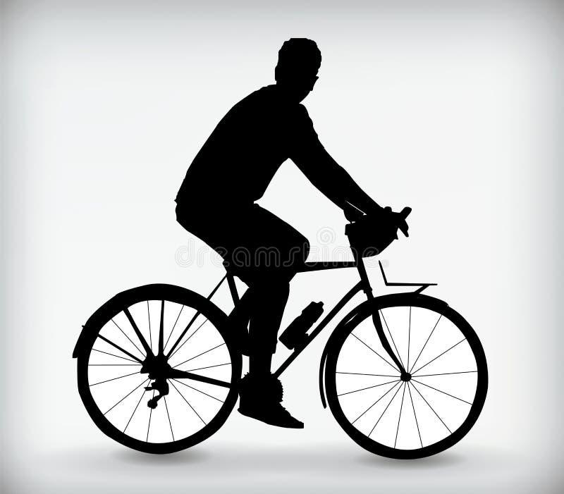 Silueta negra de un hombre en un ejemplo del vector de la bicicleta libre illustration