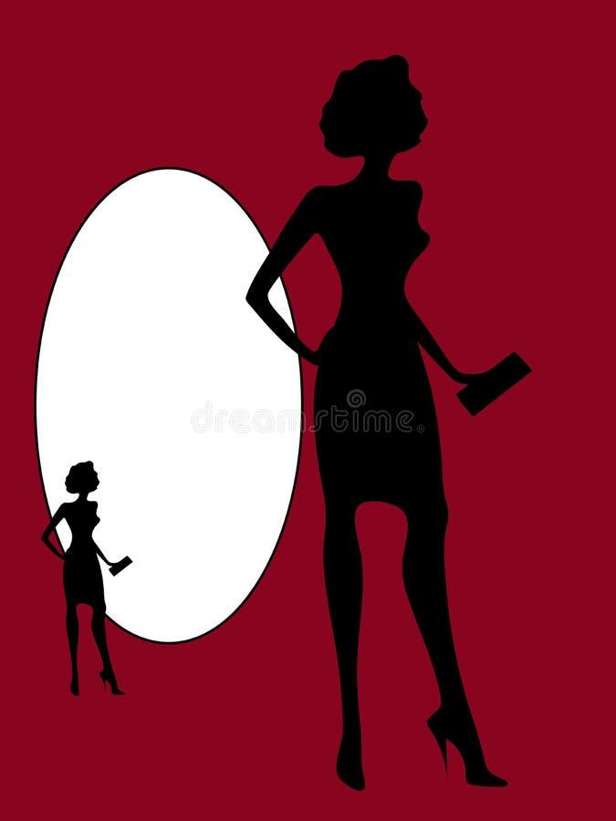 Silueta negra de un vector delgado de la mujer, aislante stock de ilustración