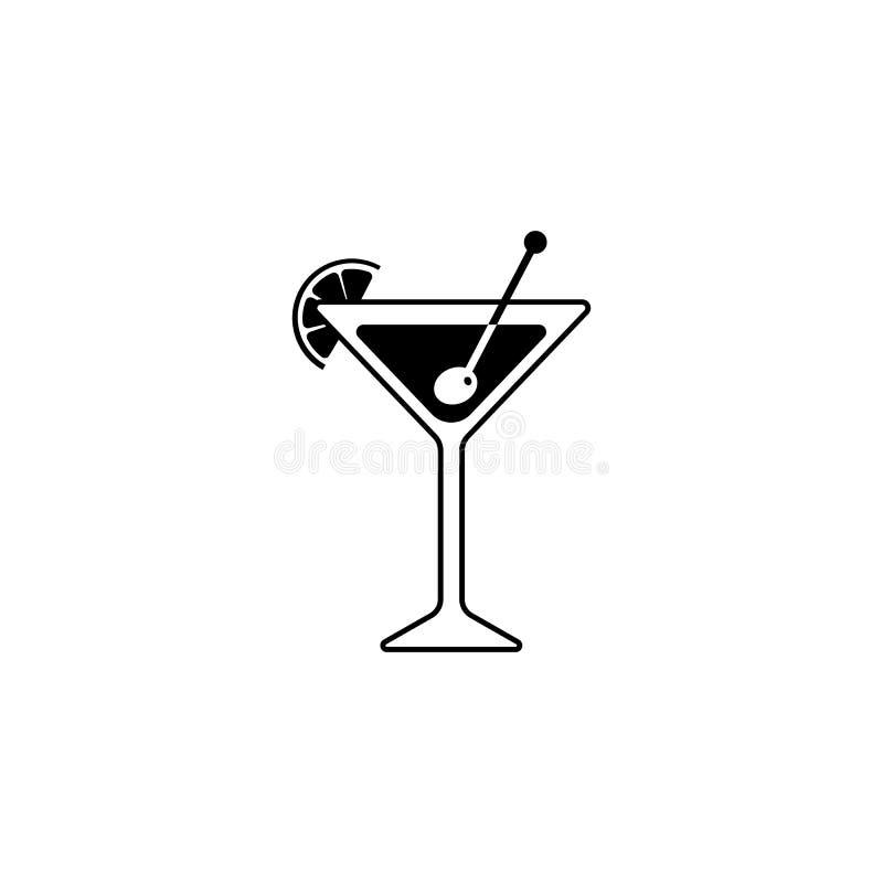 Silueta negra de un vidrio de Martini con la rebanada de cal o de lim?n icono del c?ctel con la aceituna y el palillo stock de ilustración
