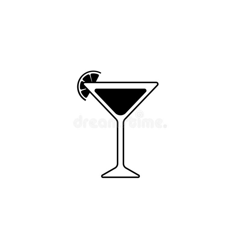 Silueta negra de un vidrio de Martini con la rebanada de cal o de lim?n Icono del c?ctel libre illustration