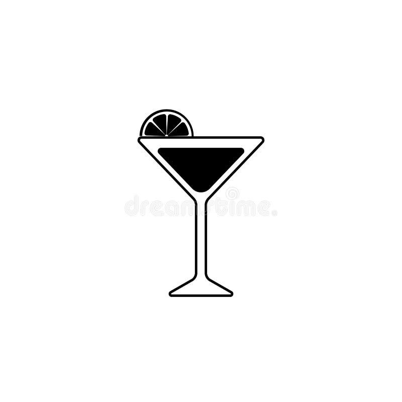 Silueta negra de un vidrio de Martini con la rebanada de cal o de lim?n Icono del c?ctel ilustración del vector