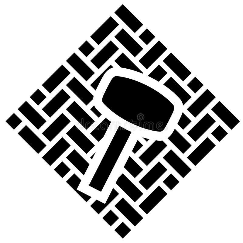 Silueta negra de una caja cuadrada con los ladrillos de la pavimentadora y de un mazo de goma en el top Clipart plano simple del  libre illustration