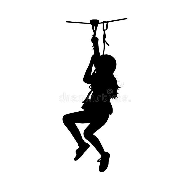 Silueta negra de una muchacha que baja en cremallera-línea imágenes de archivo libres de regalías