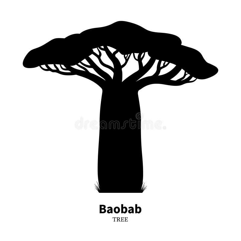 Silueta negra del árbol del baobab ilustración del vector