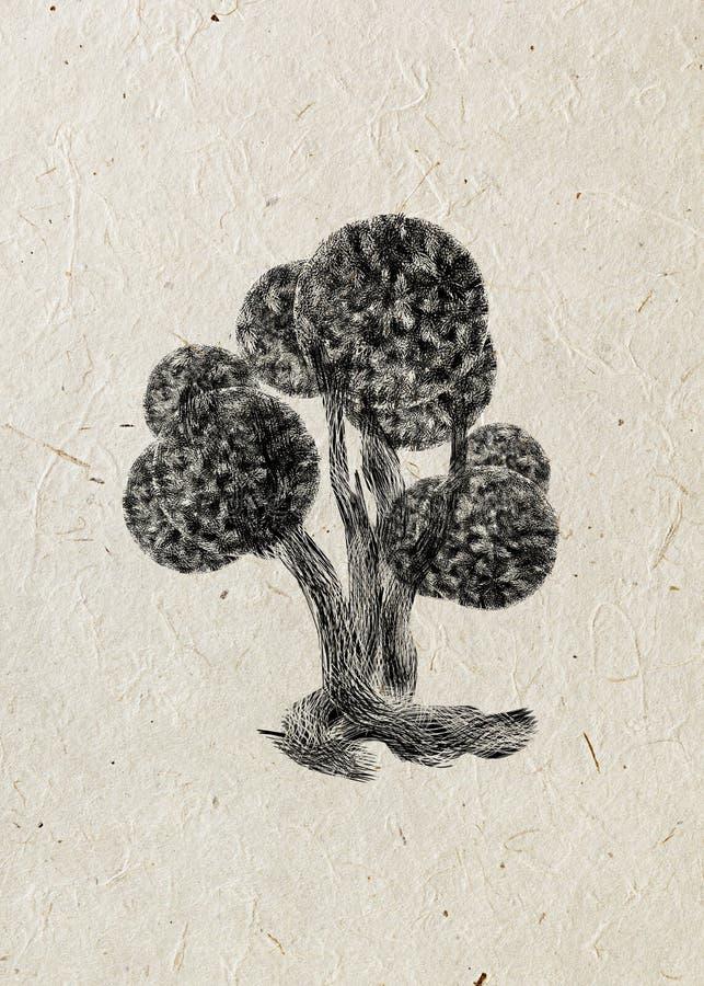 Silueta negra del árbol extraño de hadas del boj aislado en fondo beige del papel de arroz stock de ilustración
