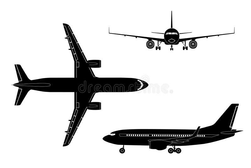 Silueta negra del aeroplano en un fondo blanco Visión superior, delantera ilustración del vector