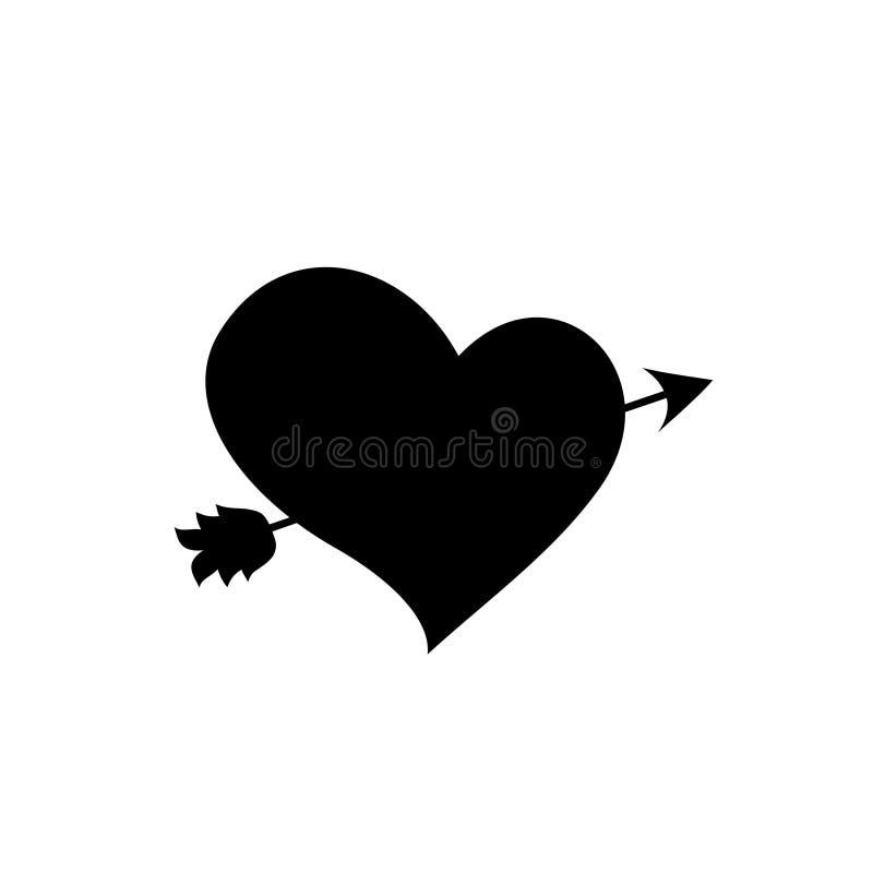 Silueta negra del corazón perforada con la flecha en el fondo blanco stock de ilustración