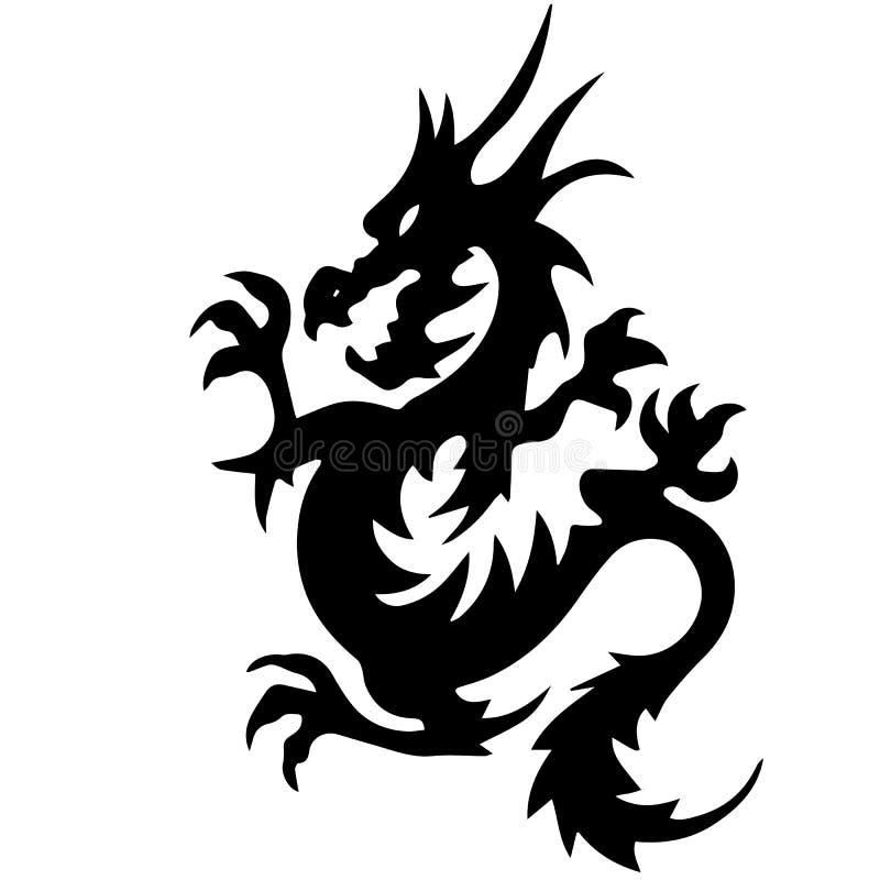 Silueta negra del dragón, en el fondo blanco libre illustration
