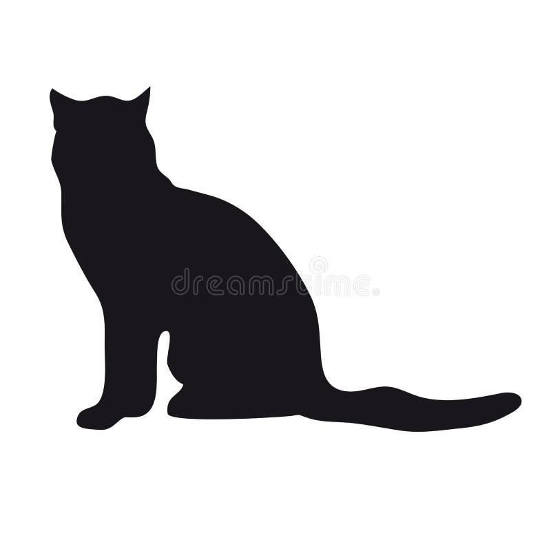 Silueta negra del gato stock de ilustración