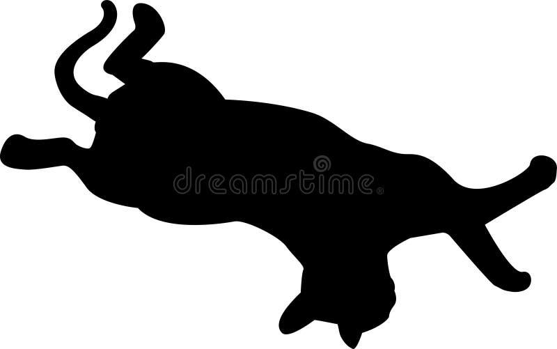 Silueta negra del gato en el fondo blanco stock de ilustración