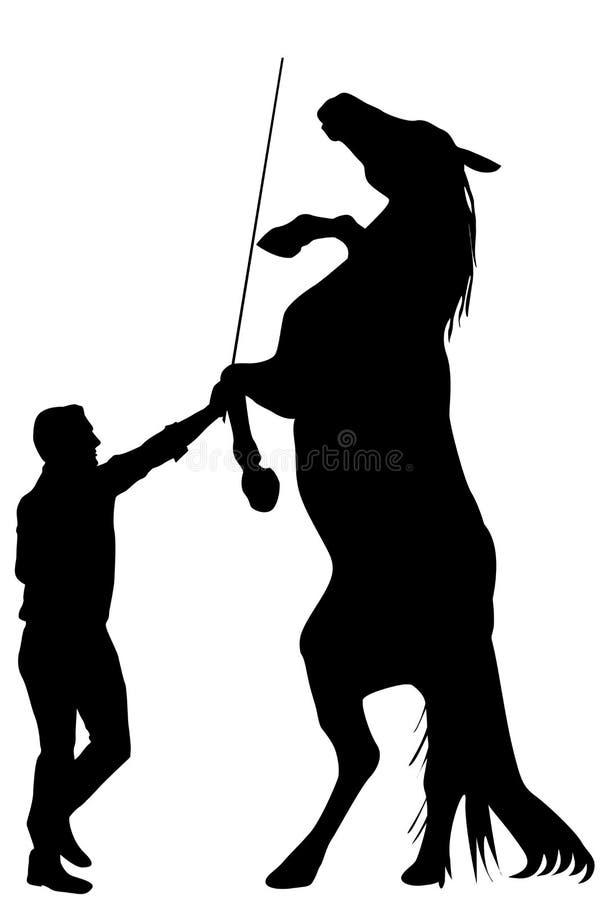 Silueta negra del hombre que entrena a un caballo a alzarse para arriba libre illustration