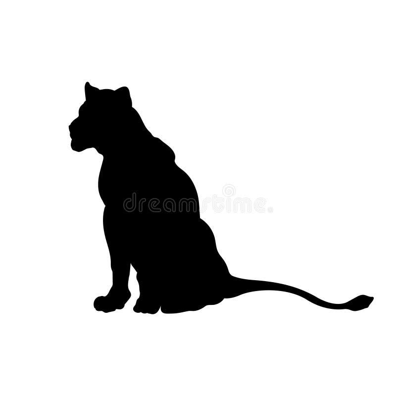 Silueta negra del le?n que se sienta en el fondo blanco Imagen de la leona Icono aislado del gato salvaje Animales africanos stock de ilustración