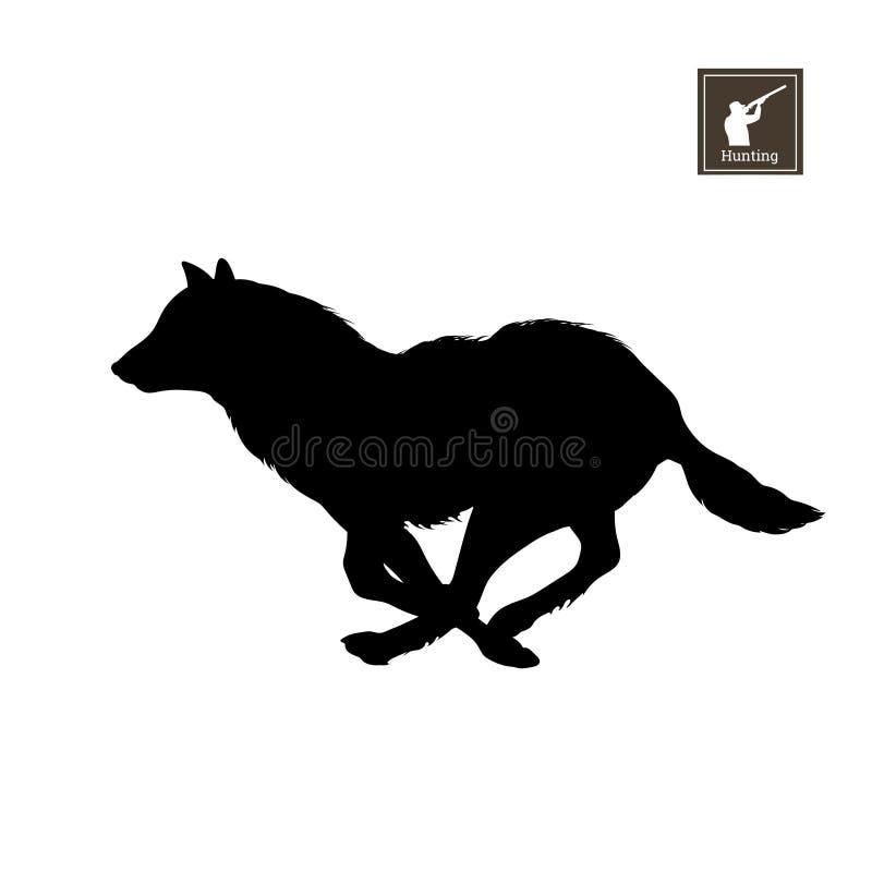 Silueta negra del lobo corriente en el fondo blanco Animales del bosque Imagen aislada detallada libre illustration