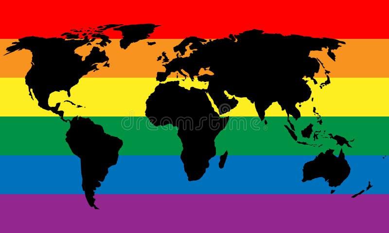 Silueta negra del mapa del mundo en fondo de la bandera del orgullo del arco iris de LGBT Lesbiana, gay, bisexual, y diseño elega ilustración del vector