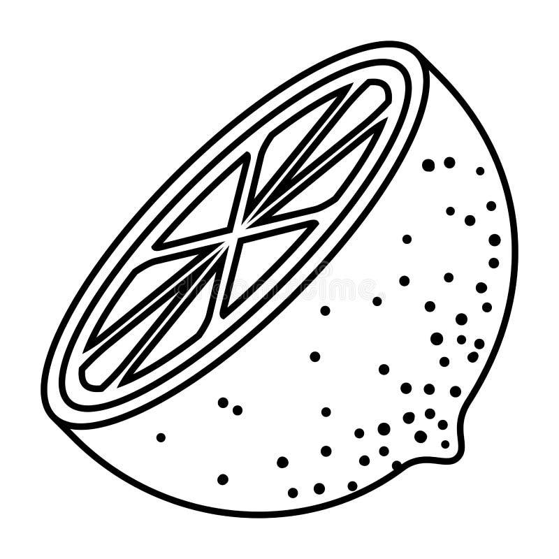 Silueta negra del medio limón libre illustration