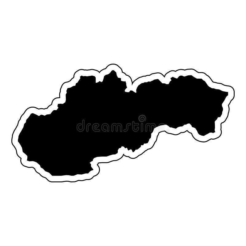 Silueta negra del país Eslovaquia con la línea de contorno ilustración del vector