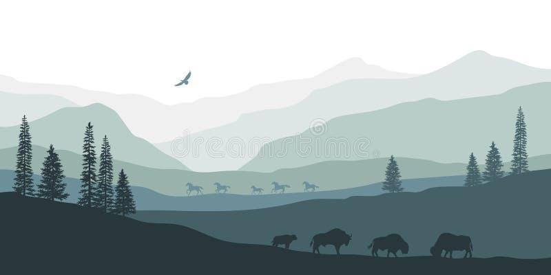 Silueta negra del paisaje de la montaña Bisonte americano Panorama natural de los animales del bosque Paisaje occidental aislado ilustración del vector