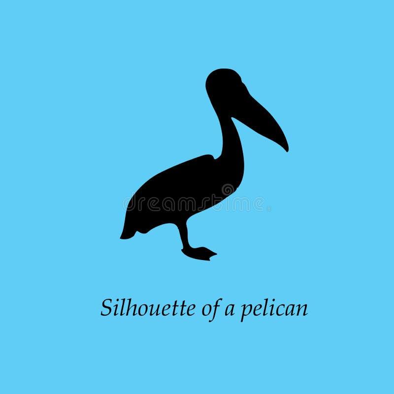 Silueta negra del pelícano en perfil, colocándose en una pierna Un trafoon del ` s del pájaro en un azul brillante, fondo de la t fotos de archivo libres de regalías