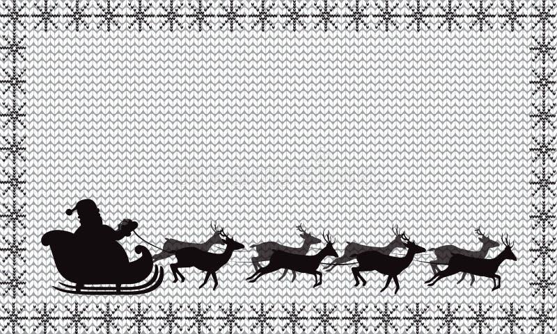 Silueta negra del vuelo de Santa Claus en un trineo en blanco ilustración del vector