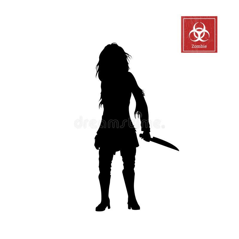 Silueta negra del zombi de las mujeres con el cuchillo en el fondo blanco Imagen aislada del monstruo de los undead ilustración del vector