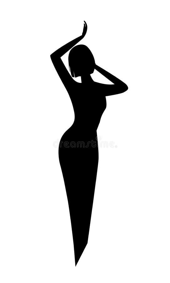 Silueta negra elegante de una mujer o de una muchacha con una cintura hermosa fina y un pelo corto Logotipo para el salón de bell ilustración del vector