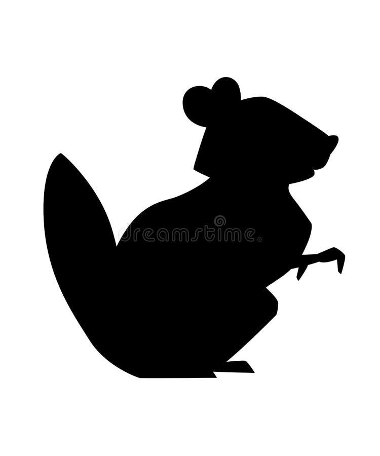 Silueta negra Gopher lindo de Brown Dise?o animal de la historieta Ejemplo plano aislado en el fondo blanco Bosque ilustración del vector