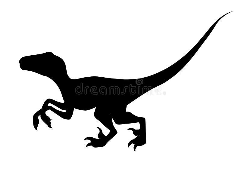 Silueta negra Rapaz de Brown Dinosaurio lindo, dise?o de la historieta Ejemplo plano aislado en el fondo blanco Animal de ilustración del vector