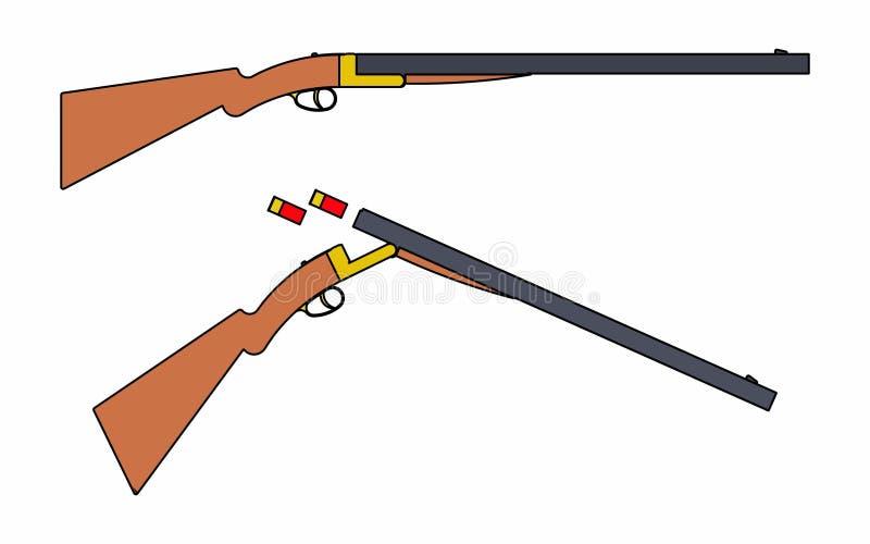 silueta negra simple de la escopeta de 12 indicadores ilustración del vector