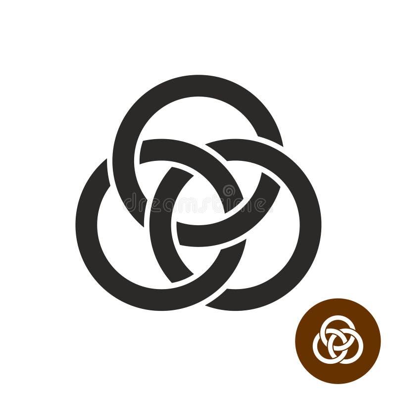 Silueta negra simple de tres anillos que entrelaza libre illustration