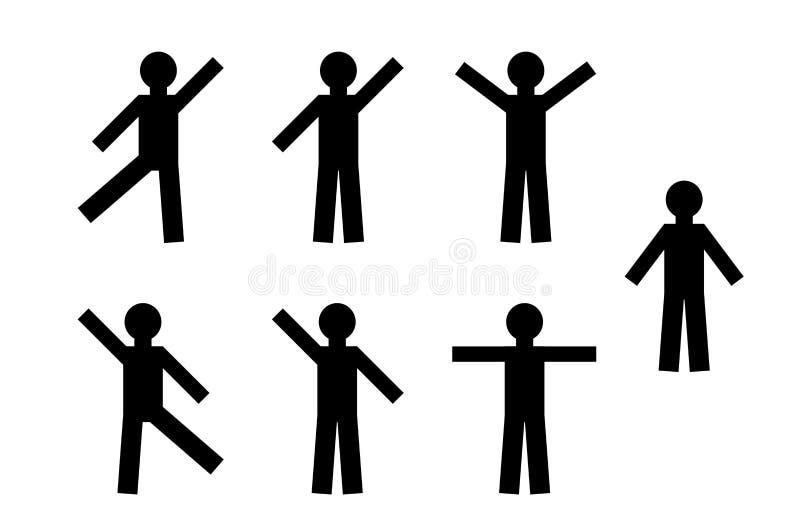 Silueta negra simple de un hombre movimiento humano Gente del baile libre illustration