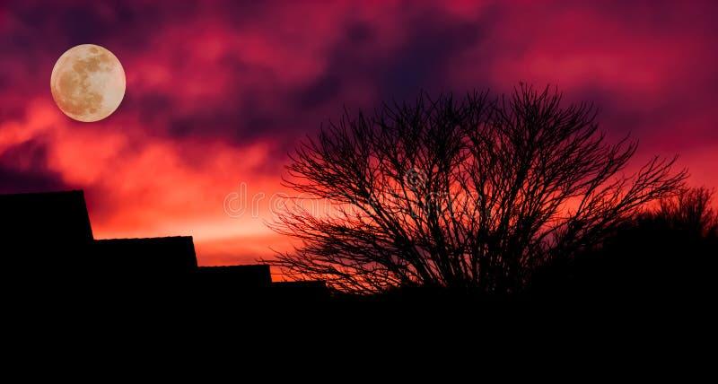 Silueta oscura de un pueblo con un árbol, nubes rojas sangre y una luna en la oscuridad, fondo de Halloween fotografía de archivo libre de regalías