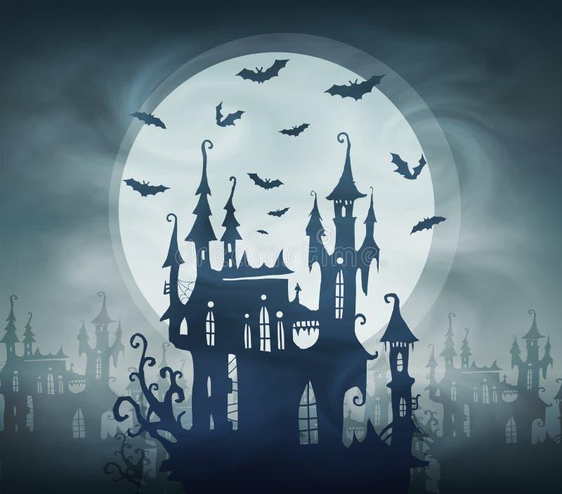 Silueta oscura del castillo de Drácula con los palos y la luna gigante Plantilla de la tarjeta de Halloween del vector stock de ilustración