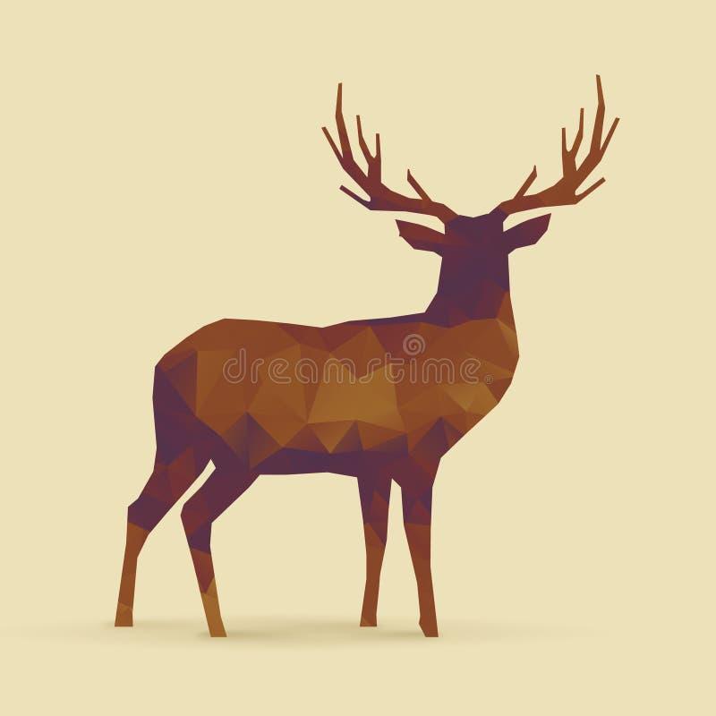 Silueta púrpura anaranjada del polígono de los ciervos stock de ilustración