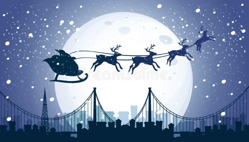 Silueta Papá Noel y cielo nocturno del vuelo del reno ilustración del vector
