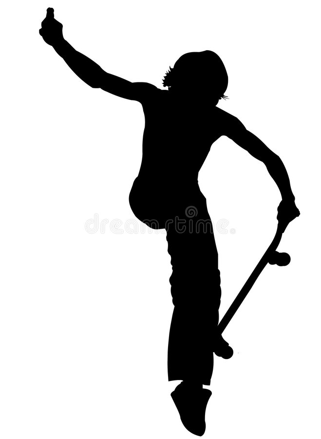 Silueta - patinador stock de ilustración