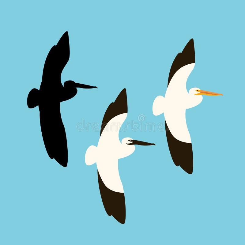 Silueta plana del negro del estilo del ejemplo del vector del pájaro del pelícano ilustración del vector