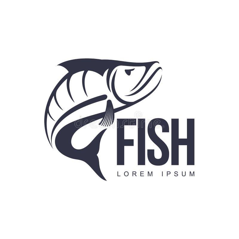 Silueta plana del pictograma del icono de los pescados del vector ilustración del vector
