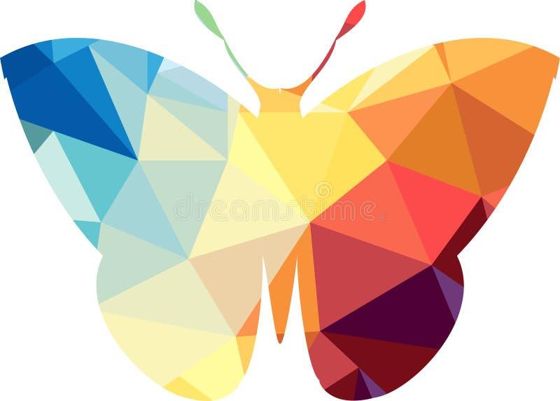 Silueta poligonal del triángulo de la mariposa stock de ilustración