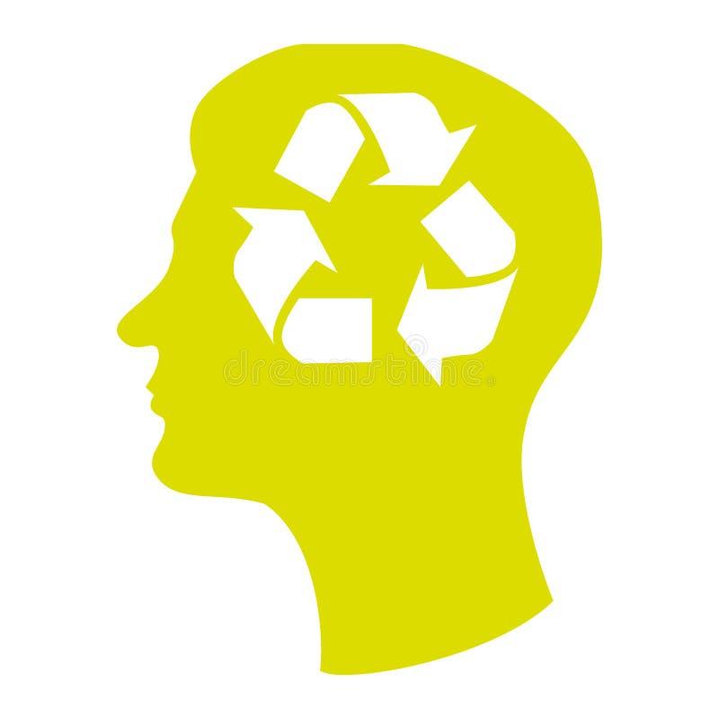 Silueta principal con el reciclaje de símbolo en mente stock de ilustración
