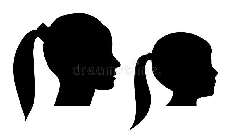 Silueta principal de la madre y de la hija - mujer y muchacha - ejemplo del vector aislado en el fondo blanco libre illustration