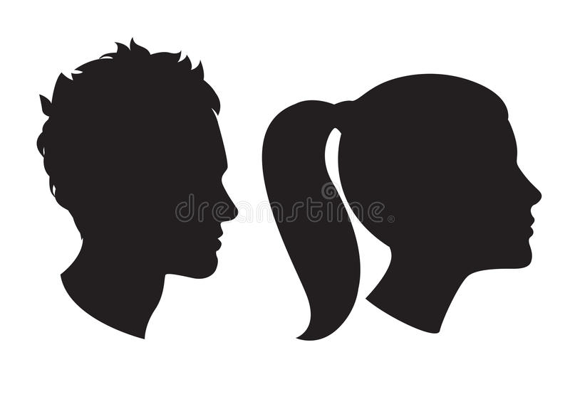 Silueta principal de la mujer y del hombre libre illustration