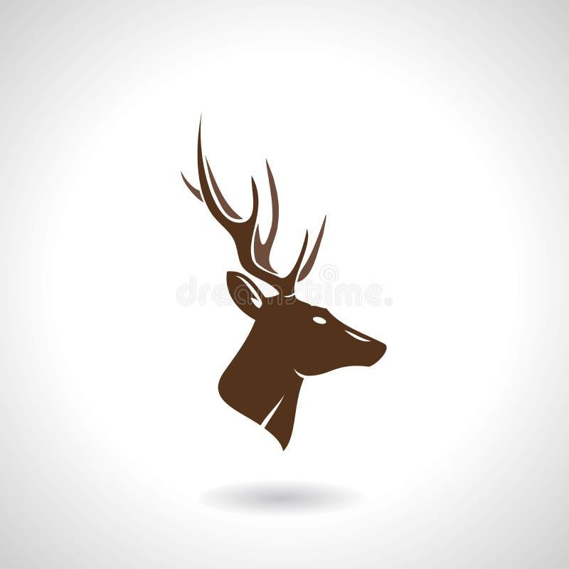 Silueta principal de los ciervos ilustración del vector
