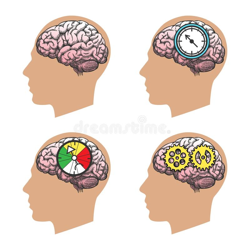 Silueta principal del hombre con el cerebro ilustración del vector