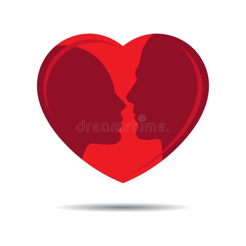 Silueta principal del perfil del varón y de la hembra en corazón libre illustration