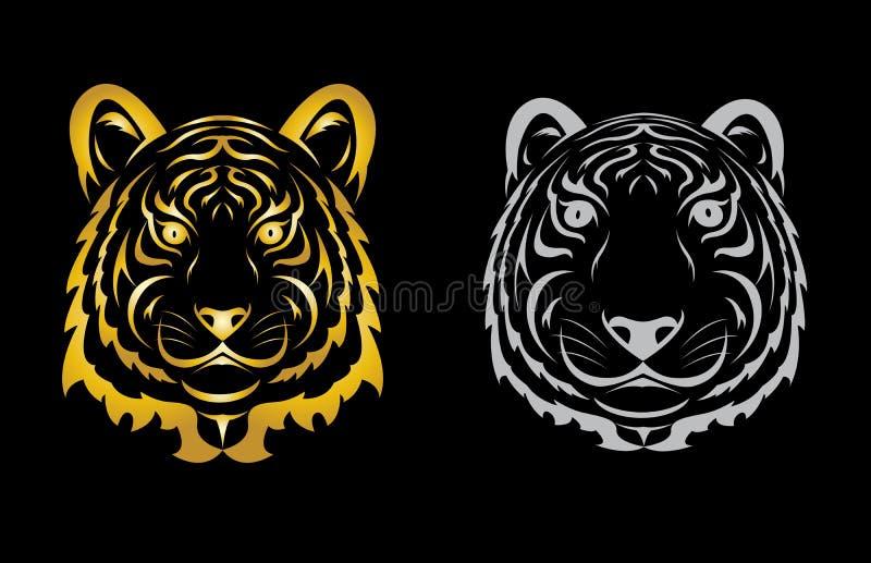 Silueta principal del tigre stock de ilustración