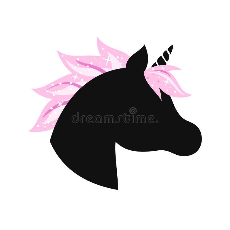 Silueta principal del unicornio con el pelo y el brillo de la melena libre illustration